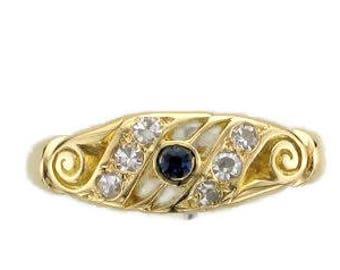 18 Karat Yellow Gold Blue Sapphire and Diamond Band Ring, Sapphire Ring, September Birthstone Ring, Birthstone Ring, Antique Sapphire Ring
