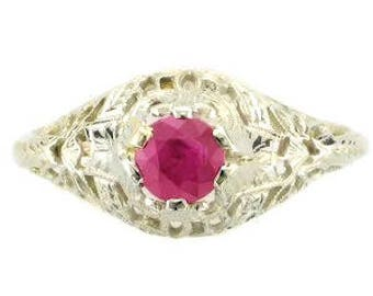 18 Karat White Gold Edwardian Ruby Filigree Ring