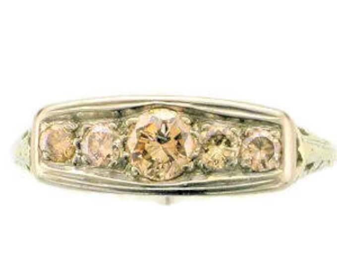 18 Karat White Gold Champagne Colored Diamond Filigree Straight Line Ring, Edwardian Diamond Ring, Diamond Ring