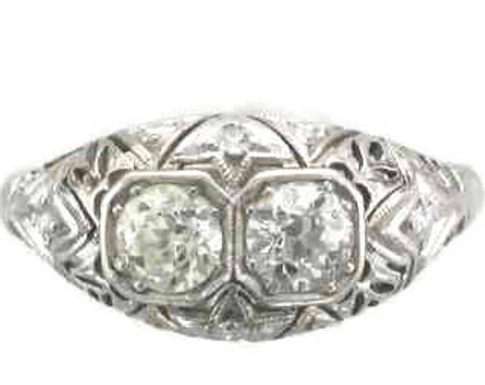 White Gold Diamond Filigree Ring, Filigree Ring, Diamond Ring, Antique Diamond Ring, European Cut Diamond, Antique Filigree Ring, Filigree