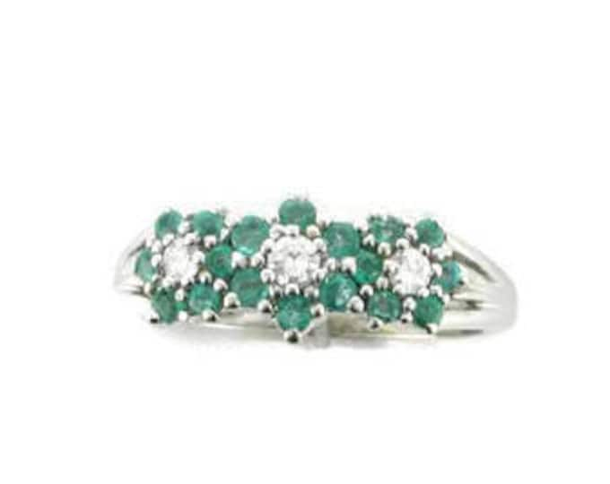 White Gold Diamond and Emerald Straight Line Cluster Ring, Flower Ring, 14 Karat