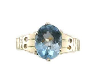 Yellow Gold Blue Topaz Victorian Ring, Antique Blue Topaz Ring, Blue Topaz, Victorian Blue Topaz Ring, Antique Yellow Gold Ring