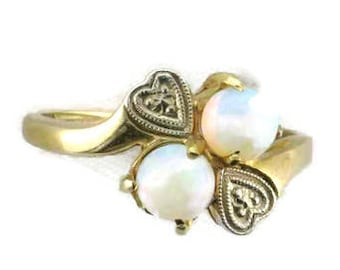 Opal Bypass Ring with Heart Accent, 1960's, 10 Karat Yellow Gold
