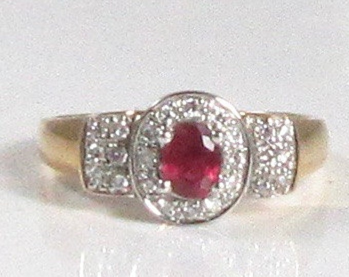 Vintage Ruby and Diamond Ring; Ruby and Diamond Ring; Estate Ring; Estate Ruby and Diamond Ring; July Birthstone Ring