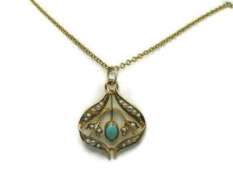 Seed Pearl and Turquoise Pendant; Pearl and Turquoise Necklace; Victorian Turquoise and Pearl Pendant; December Birthstone
