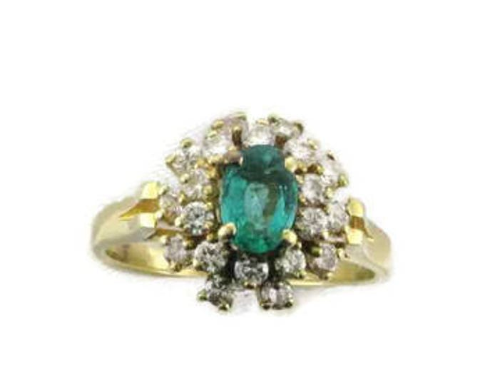 Classic Emerald and Diamond Cocktail Ring from the Late 1970's, Cluster Ring, Multi Stone Ring, Yellow Gold, Cluster Ring