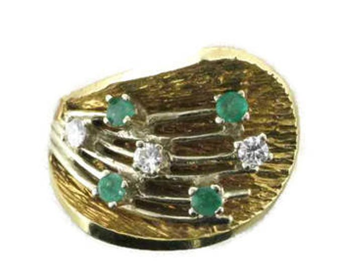 Emerald and Diamond Cocktail Ring; 1960's Cocktail Ring; Emerald and Diamond Right Hand Ring; Emerald Ring; Diamond Ring