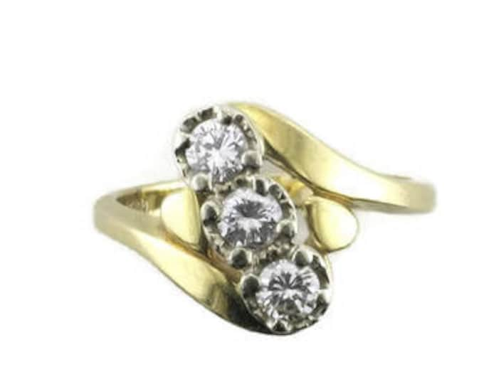 Diamond Cocktail Ring; Diamond Right Hand Ring; Yellow Gold Ring with Diamonds set on the Diagonal; Yellow Gold Diamond Ring