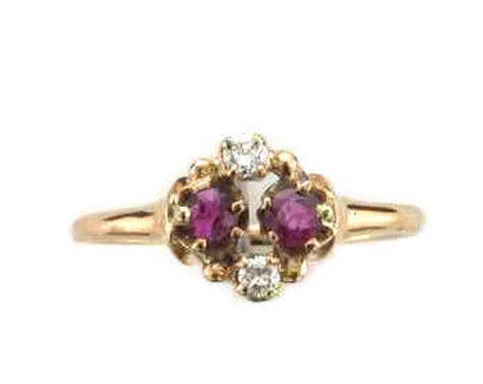 Yellow Gold Ruby and Diamond Victorian Ring; Ruby and Diamond Ring; Victorian Ruby Ring; Ruby Ring