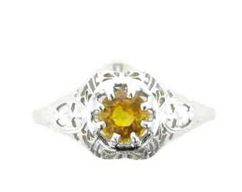 Yellow Sapphire White Gold Filigree Ring; Yellow Sapphire Ring; White Gold Filigree Ring; Sapphire Filigree Ring