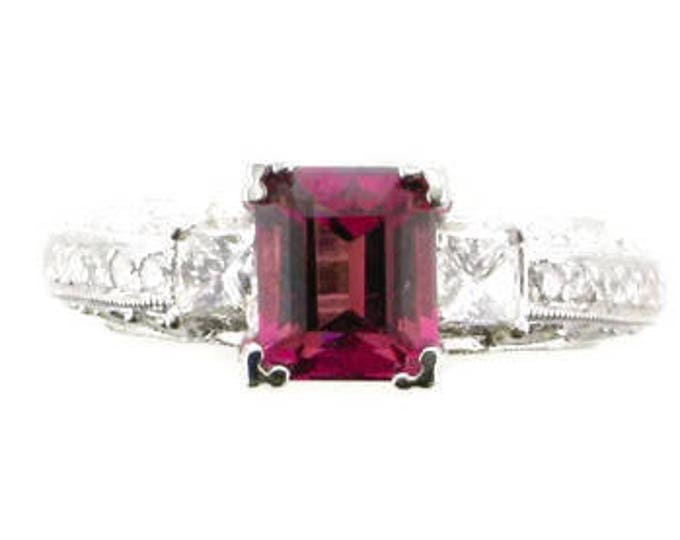 White Gold Diamond and Peach/Pink Tourmaline Ring; Tourmaline Ring; Vintage Tourmaline and Diamond Ring, Engagement Ring Vintage Ring