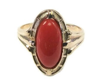 Yellow Gold Coral Ring, Coral Ring, Antique Coral Ring, Yellow Gold Antique Coral Ring, Right Hand Ring, Coral, Edwardian Coral Ring