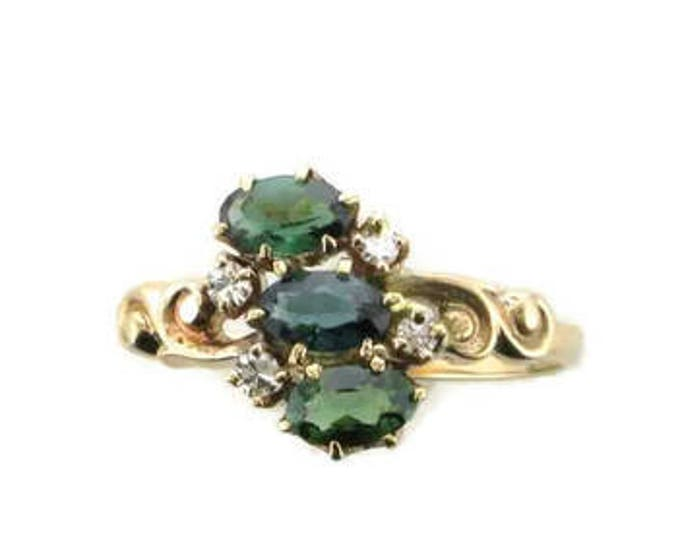Green Tourmaline and Diamond Victorian Ring Set in 14 Karat Yellow Gold
