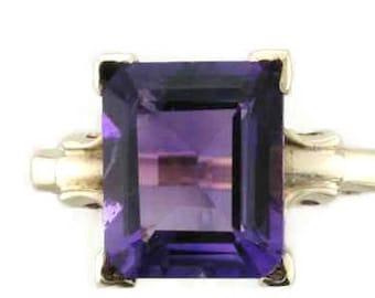 Amethyst Ring, Vintage Amethyst Ring, Emerald Cut Amethyst Ring, February Birthstone Ring, Birthstone Ring, Yellow Gold Amethyst Ring