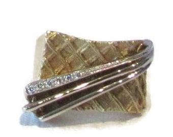 Yellow and White Gold Satin Finish Diamond Ring; Futuristic Ring; Weave Ring; Diamond Ring; Cocktail Ring; Dinner Ring