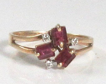 Estate Ruby and Diamond Ring, Ruby and Diamond Ring, July Birthstone Ring, Birthstone Ring, Cocktail Ring, Vintage Ring, Vintage Ruby Ring