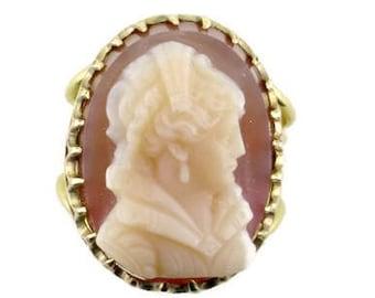 Stone Cameo, Split Shank Ring; Cameo Ring; Stone Cameo Ring; Victorian Cameo; Victorian Stone Cameo; 14 Karat Cameo Ring