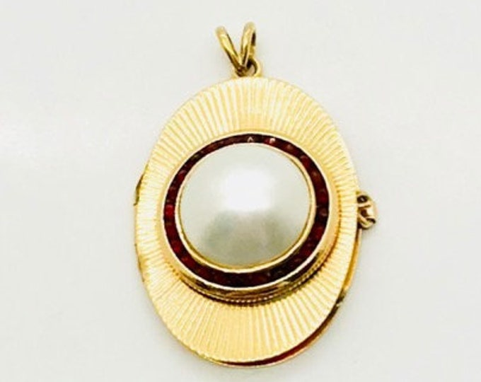 Yellow Gold Mabe Pearl and Ruby Locket, Pearl Locket, Vintage Locket, Ruby and Pearl Locket, Mabe Pearl, Oval Locket, Vintage Locket