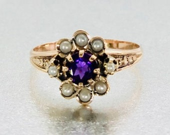 Yellow Gold Amethyst and Pearl Ring, Antique Amethyst Ring, Victorian Amethyst and Pearl Ring, February Birthstone, Birthstone Ring