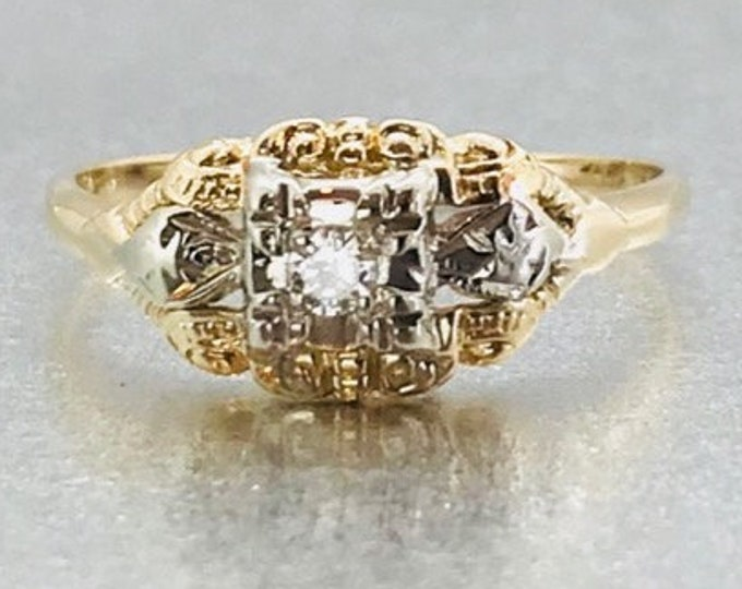 Yellow Gold Diamond Engagement Ring, Vintage Engagement Ring, Diamond Promise Ring, Vintage Diamond Promise Ring, Vintage Diamond Ring