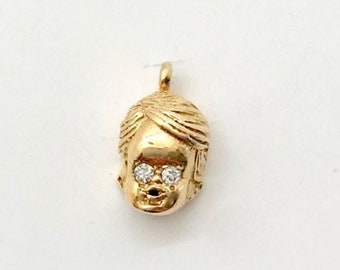 Yellow Gold Little Boy Charm, 10 Karat Yellow Gold Little Boy Charm with Diamond Eyes, Vintage Baby Charm, Vintage Charm, Vintage Jewelry