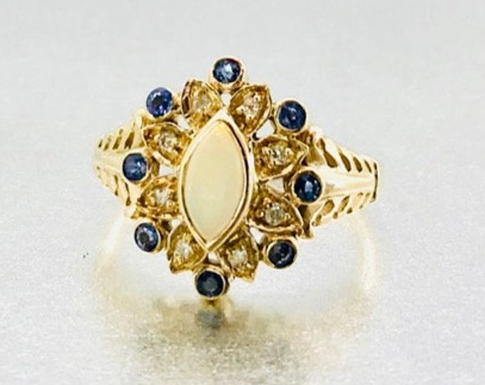 Yellow gold Opal, Diamond and Sapphire Ring, Vintage Opal Ring, October Birthstone, Birthstone Ring, Vintage Opal, Diamond and Sapphire Ring