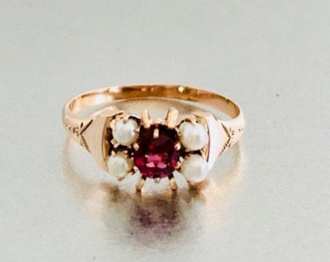 Yellow Gold Rhodolite Garnet and Pearl Ring, Vintage Garnet Ring, Victorian Garnet and Pearl Ring, January Birthstone, Birthstone Ring