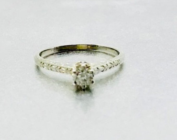 White Gold Diamond Engagement Ring, Antique Diamond Engagement Ring, Engagement Ring, 18 Karat White Gold Diamond Edwardian Engagement Ring