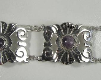 Silver Amethyst Large Link Bracelet, Amethyst Bracelet, Vintage Amethyst Bracelet, Bracelet Stamped Mexico, February Birthstone