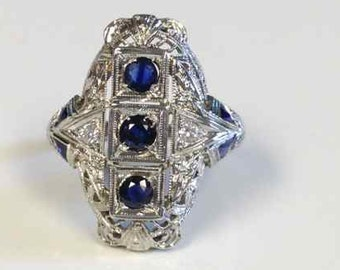 Blue Sapphire and Diamond Filigree Ring Tested 18 Karat White Gold