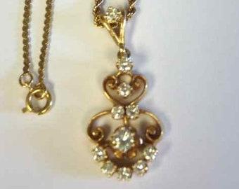 Vintage Yellow Gold Scroll Work Diamond Pendant, Vintage Diamond Necklace, Edwardian Diamond Necklace