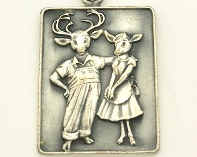 Silver Tone Buck and Doe Pendant, Vintage Deer Pendant, Farmer Buck and Farmer Doe Deer Pendant, Deer Loving Couple Pendant, Deer Pendant