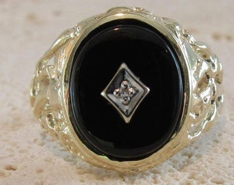 Black Onyx and Diamond Ring, Black Onyx Ring, Yellow Gold Black Onyx Ring, Vintage Black Onyx Ring, Vintage Black Onyx and Diamond Ring