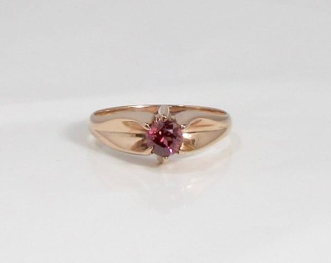 Pinkish-Yellowish Rhodolite Garnet Ring; Rhodolite Garnet Ring; Garnet Ring; Vintage Garnet Ring; Antique Garnet Ring; Belcher Style Ring