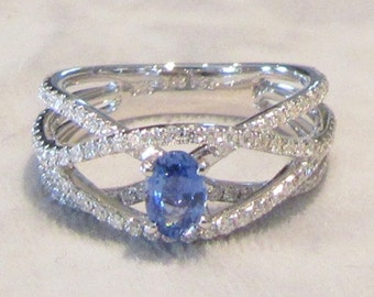 Sapphire and Diamond Right Hand Ring; Sapphire and Diamond Cocktail Ring; Blue Sapphire Ring; Blue Sapphire and Diamond Ring