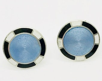 Art Deco Sterling Silver Enamel Pierced Earrings, Blue Black and White Enamel Earrings, Art Deco Earrings, Round Pierced Earrings