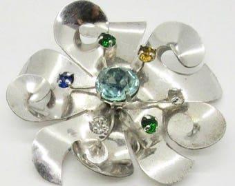 Sterling Silver Rhinestone Pin, Vintage Silver Pin, Vintage Rhinestone Pin, Brooch, Vintage Brooch, Rhinestone Pin, Rhinestone Brooch