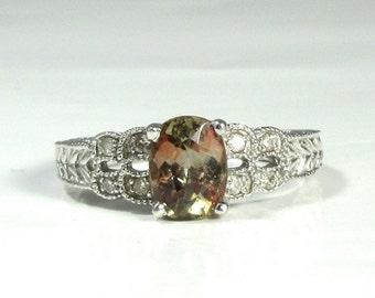 Andalusite and Diamond High Fashion Ring; Right Hand Ring; Andalusite and Diamond Ring; Andalusite Ring; Estate Ring; Estate Andalusite Ring