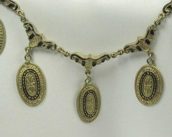 Gold Tone and Black Enamel Bib Necklace; Bib Necklace; Necklace with Black Enamel; Decorated Black Enamel Bib Necklace
