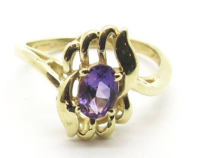 Yellow Gold Amethyst Ring, Vintage Amethyst Ring, February Birthstone, Birthstone Ring, Free Form Ring, Vintage Ring, Free Form Design Ring