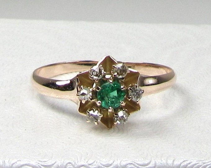 Victorian Emerald and Diamond Ring; Yellow Gold Emerald and Diamond Ring; Emerald Ring; Emerald and Diamond Ring; May Birthstone Ring
