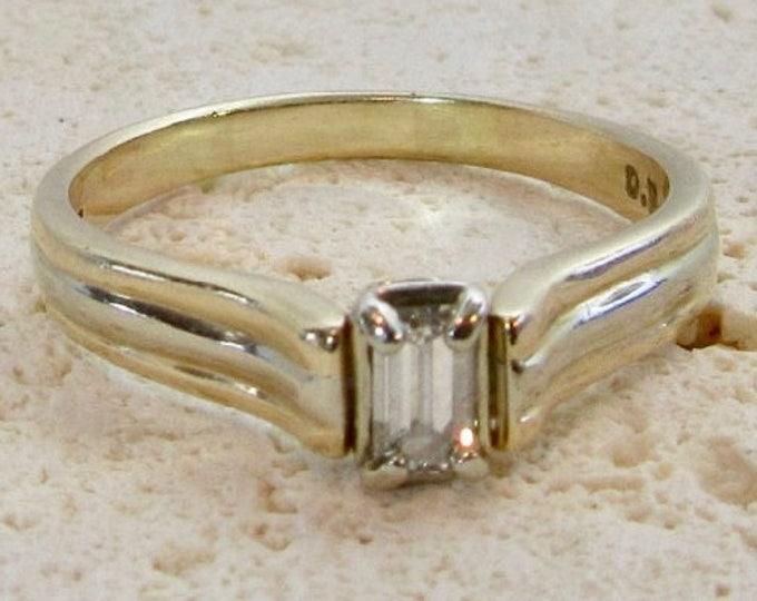 Emerald Cut Diamond Engagement Ring, Diamond Engagement Ring,  Engagement Ring, Yellow Gold Engagement Ring, Promise Ring