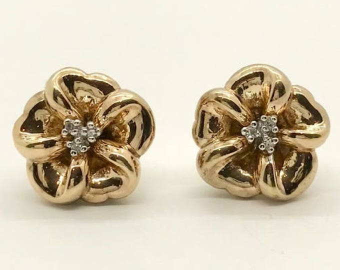 Yellow Gold Flower Earrings with Diamonds, Diamond Flower Earrings, Vintage Earrings, Pierced Earrings, Vintage Diamond Earrings, Earrings