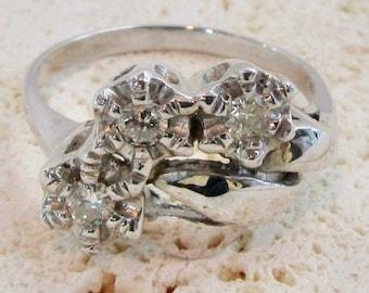 White Gold Diamond Estate Ring, Cocktail Ring, Diamond Ring, Vintage Diamond Ring, Right Hand Ring, 1950's Diamond Ring