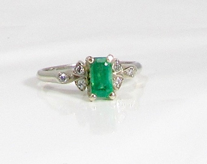 White Gold Diamond and Emerald Ring; May's Birthstone; Birthstone Ring; Emerald Ring; Emerald and Diamond Ring; Right Hand Ring