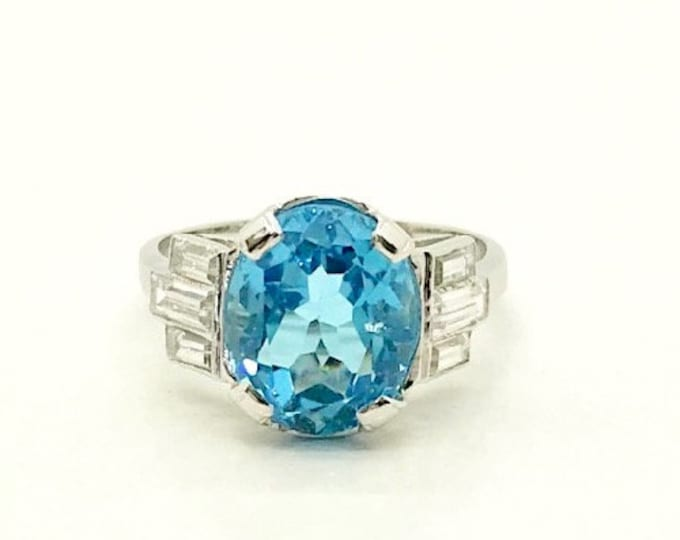 White Gold Blue Topaz and Cubic Zirconia Ring, Vintage Blue Topaz Ring, December Birthstone Ring, Vintage Birthstone Ring, Blue Topaz and CZ