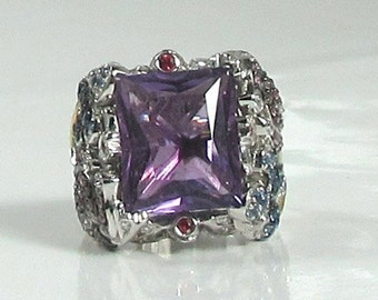 Amethyst, Green Garnet, Sapphire, Diamond and Ruby Ring, Whimsical Ring, Butterfly Ring, Flower Ring, Cocktail Ring, February Birthstone