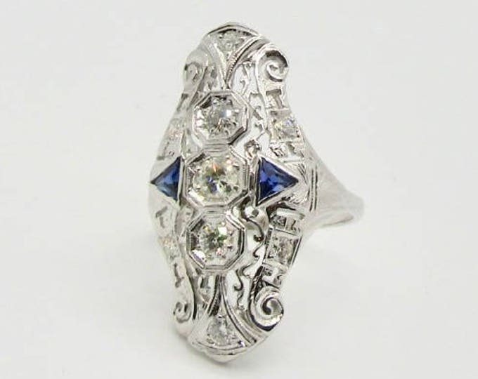 White Gold Filigree Ring, Filigree Diamond and Sapphire Ring, Antique Diamond Ring, Filigree Ring, Vintage Ring, Vintage Diamond Ring