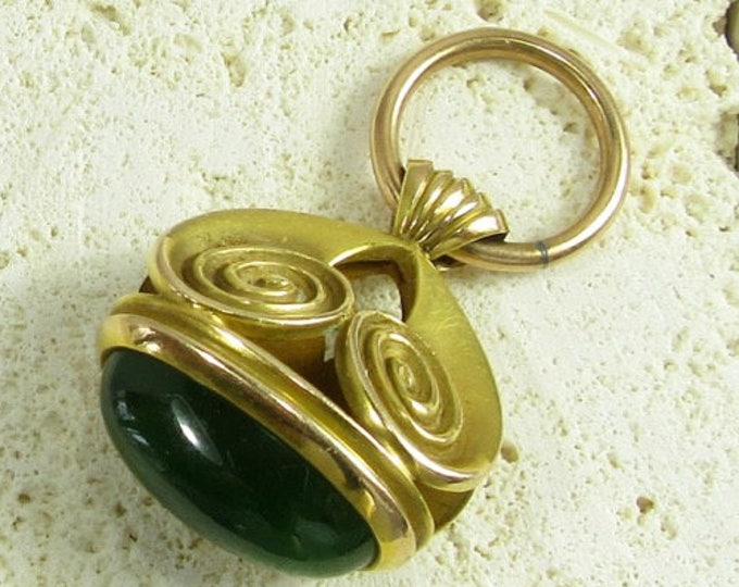 Yellow Gold Watch Fob, Jade Watch Fob, Nephrite Watch Fob, Antique Watch Fob, Art Nouveau Watch Fob, Art Nouveau, Watch Fob