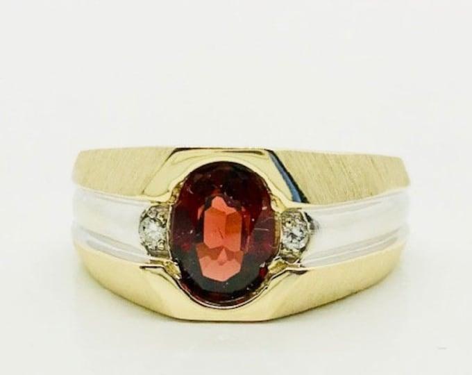 Garnet and Diamond Two Tone Gold Ring, Garnet and Diamond Ring, Vintage Garnet Ring, Vintage Garnet and Diamond Ring, Brush Finish Ring